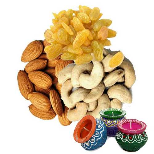 Mixed Dry Fruits 300g with 3 Matki Diyas for Diwali