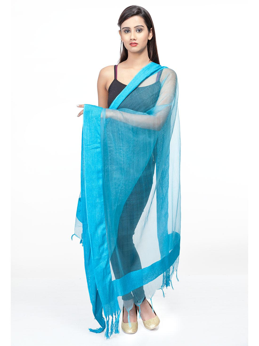 Sky Blue Solid Fancy Dupatta