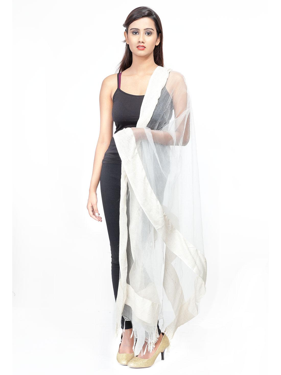 White Solid Fancy Dupatta