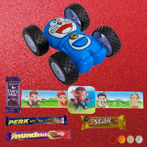 Bal Ganesha Rakhi with Racing Car Combo