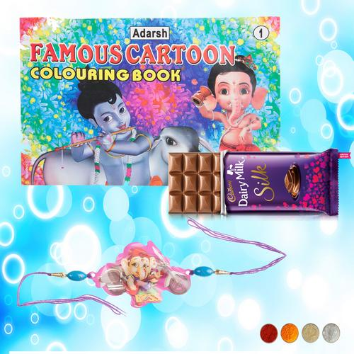 Bal Ganesha Rakhi and Coloring Book Combo