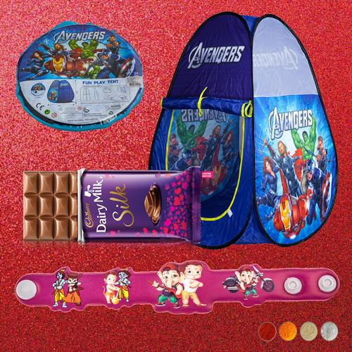 Cartoon Character Rakhi and Tent House Combo
