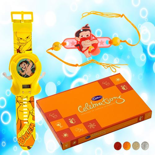 Bal Hanuman Rakhi with Disc Launcher Watch Combo
