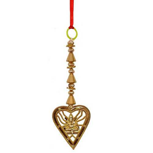Golden Metallic Ganesha Wall Hanging or Latkan for Diwali Decoration