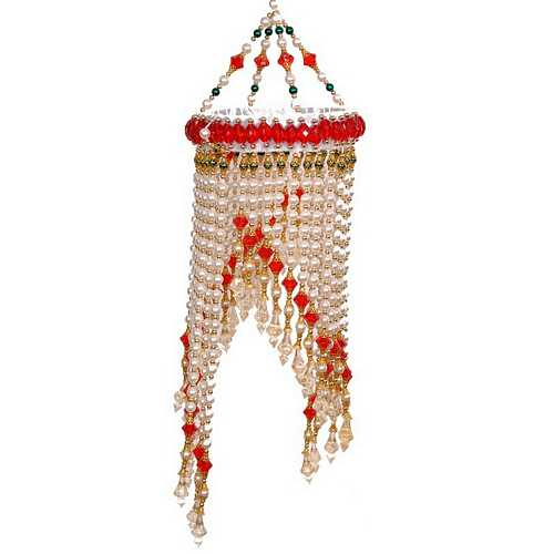 Pearl With Red Beads Jhumar For Diwali Decoration Gift 1299
