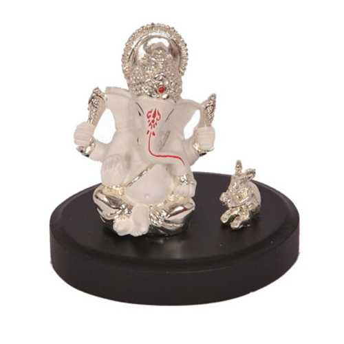Silver Plated Lord Ganesh Idol With Base