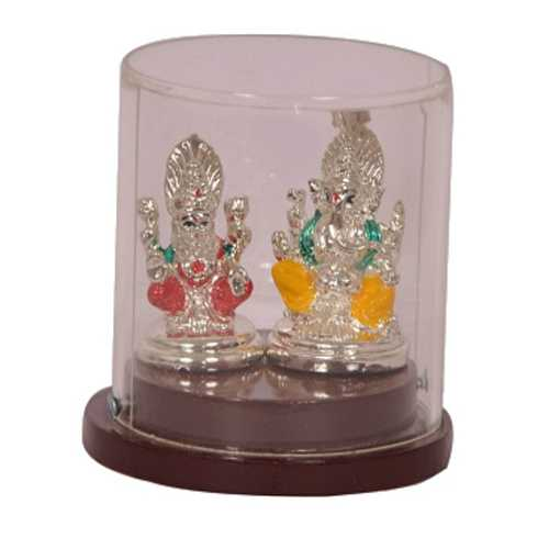 Silver Plated Laxmi Ganesh Idol in Case