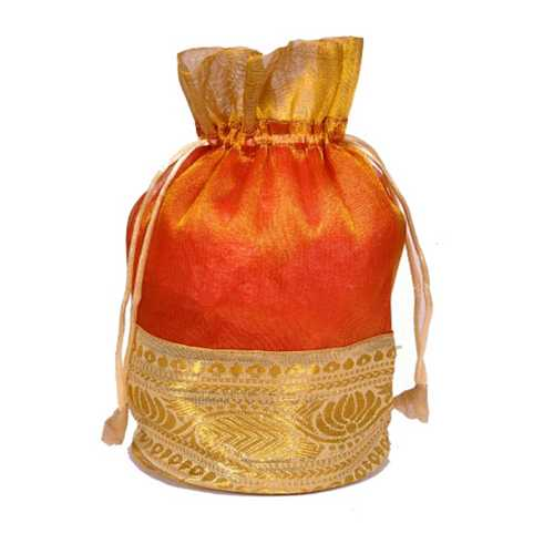Orange n Golden Gift Potli