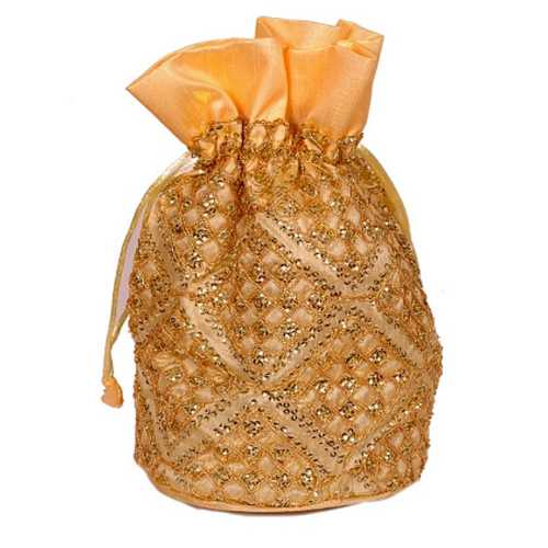 Golden Embroidered Gift Potli
