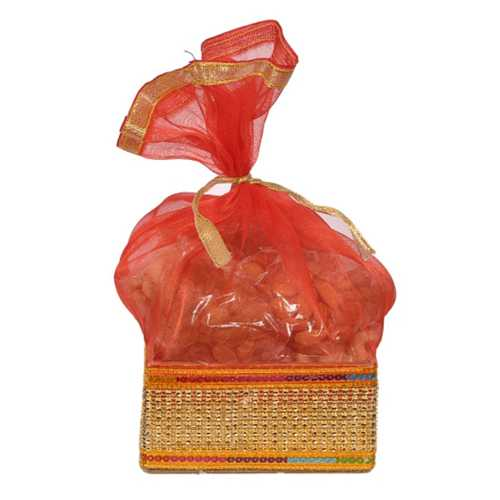 Red Net and Golden Gift Potli