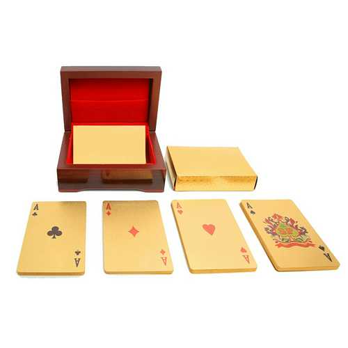 Gold Plated Playing Cards with Wooden Box Holder
