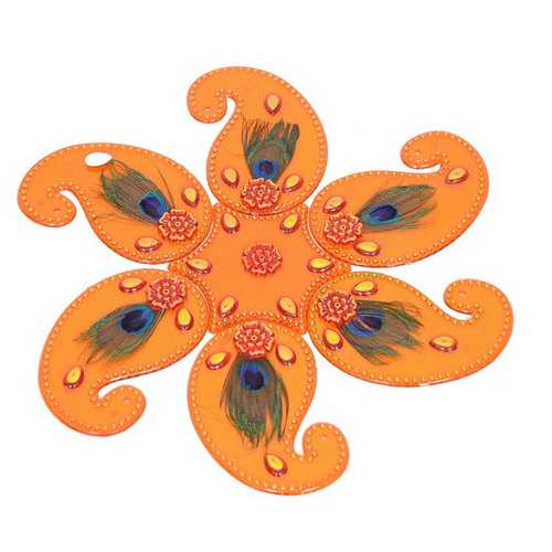 Mor Pankh Stick-on Rangoli (Orange)