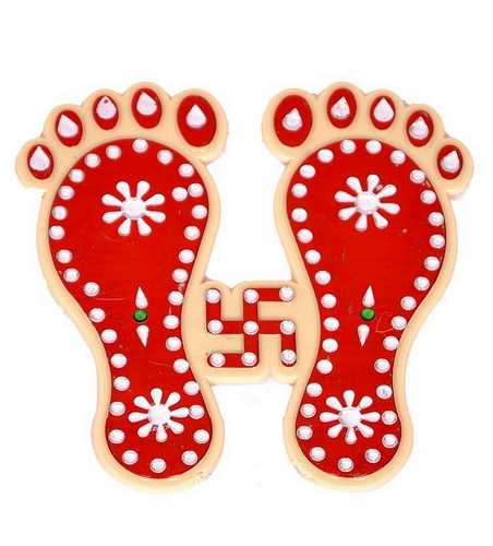 Charan Paduka Sticker with Swastika - Set of 2