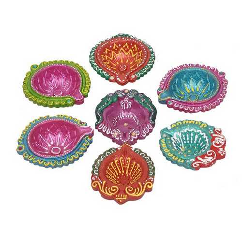 Decorative Multicolor Diwali Diyas Set of 7