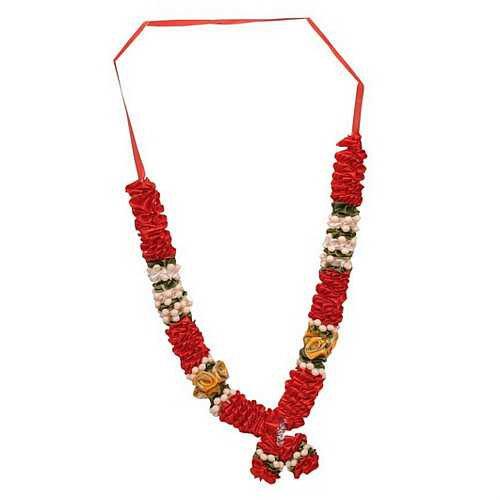 Red Satin Flowers Diwali Deity Garland