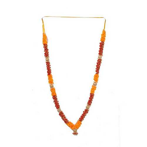 Attractive Red Orange and Golden Satin Diwali Deity Garland