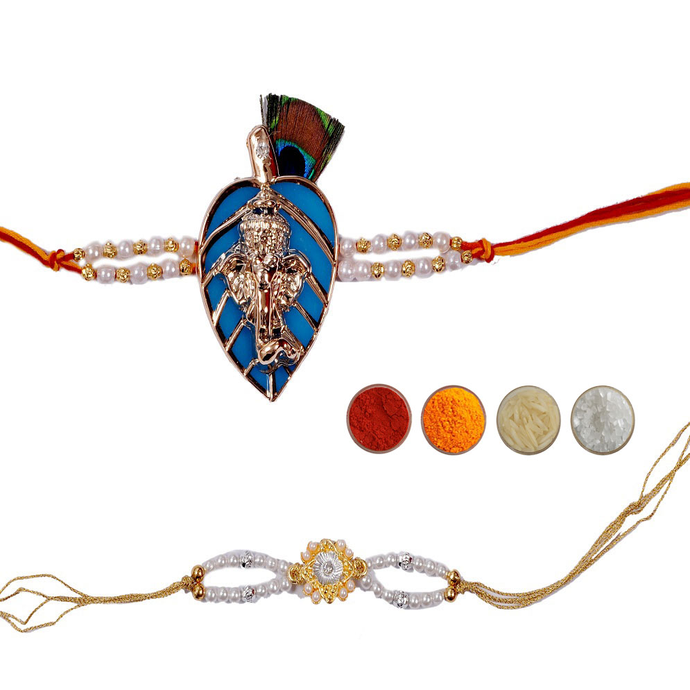 Designer Rakhi with Pearls - Set of 2