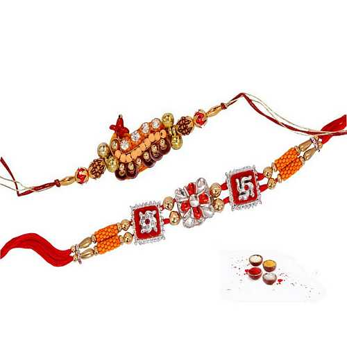 Rudraksha and Swastika Rakhis Set