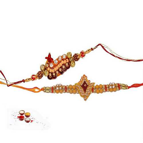 Rudraksha and Beads Rakhis Combo