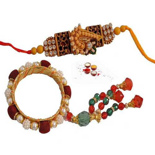 Beautiful Set of Bhaiya & Bhabhi ki Rakhi