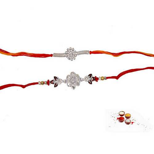Awesome Pair of Diamond n Silver Aura Mauli Rakhis