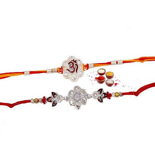 Designer Set of Diamond Aura Rakhis