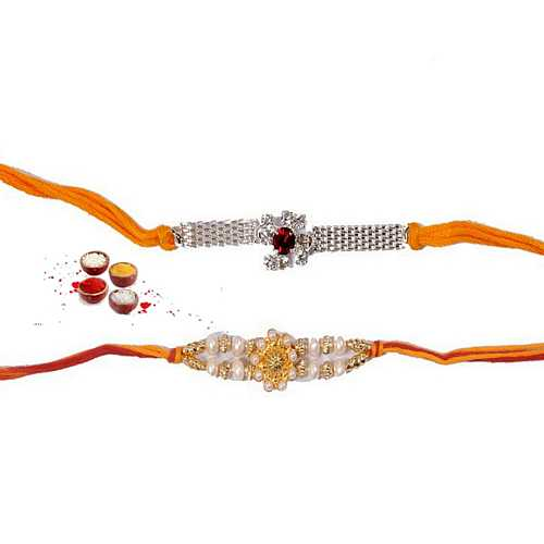 Elegant N Jeweled Rakhi Pair for Bhaiya