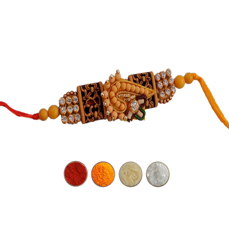 Chandan Mauli Rakhi with White Stone & Beads