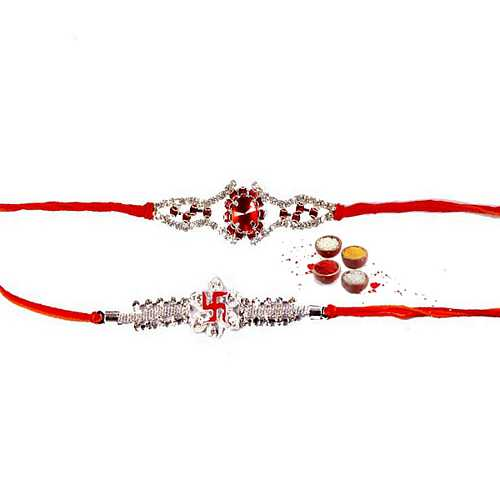 Premium Stone Rakhis Set in Mauli Thread