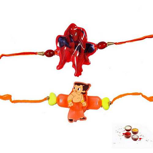Kids Rakhi Set - Spiderman n Chhota Bheem Design