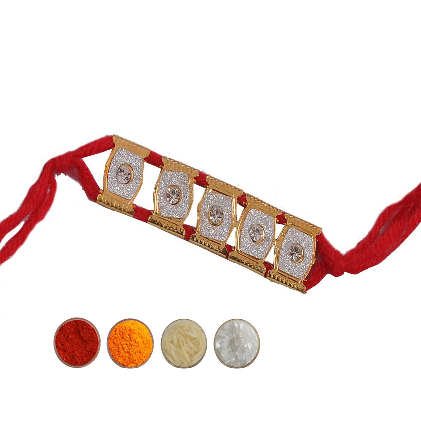 Red Mauli Bracelet Rakhi in Diamond Aura