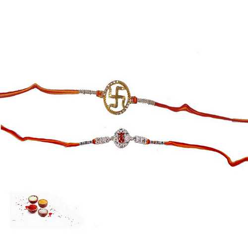 Auspicious Rakhi Pair in Mauli Thread