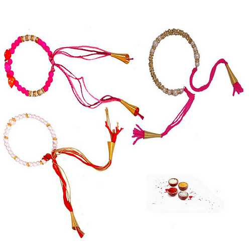 Set of 3 Fancy Beads Rakhi