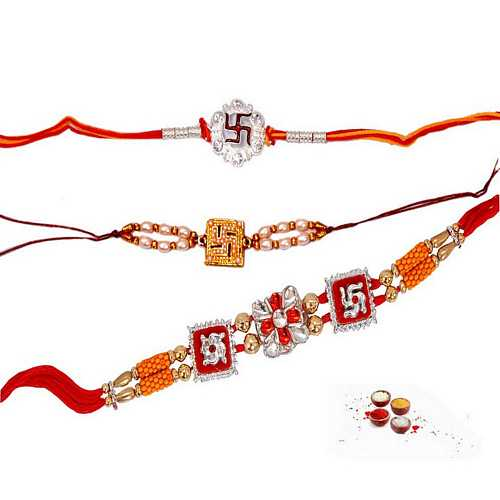 Set of 3 Swastika Rakhis