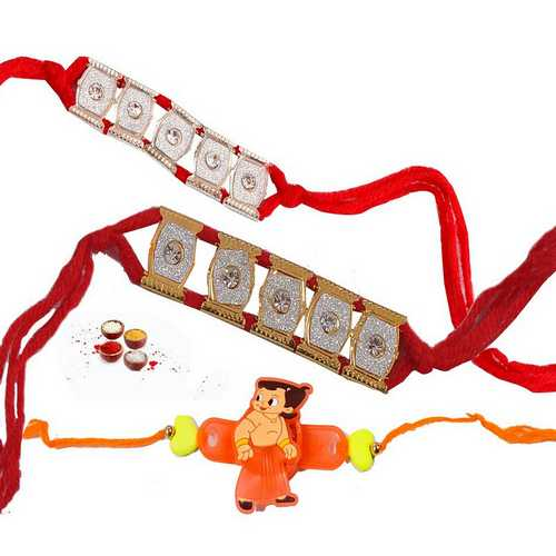 Set of 2 Bracelet Style and 1 Kids Rakhi