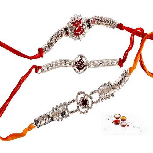 Premium Set of 3 Diamond Aura Rakhis