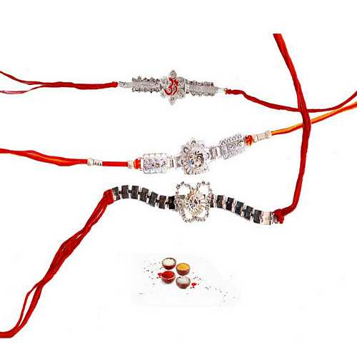 Premium Diamond Aura Rakhis - Set of 3