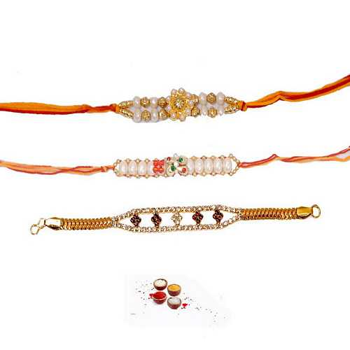 Designer Pearl and Bracelet Rakhis Set