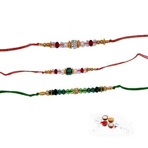 Glittering Rakhi Set of 3