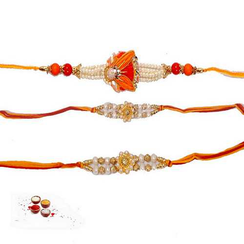 Shining Pearl Rakhis - Set of 3