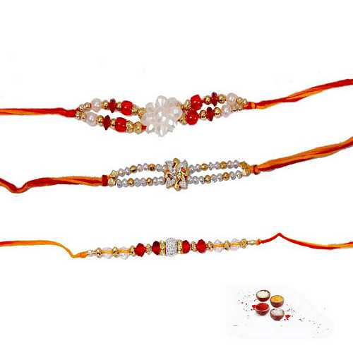 Premium Quality Pearl Rakhis - Set of 3