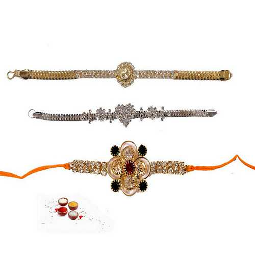 Jeweled Rakhis for Bhaiya - Set of 3