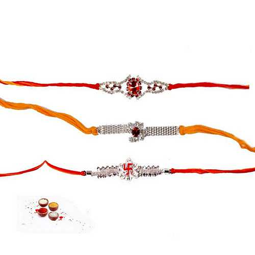 Diamond Aura n Kundan Rakhi Set of 3