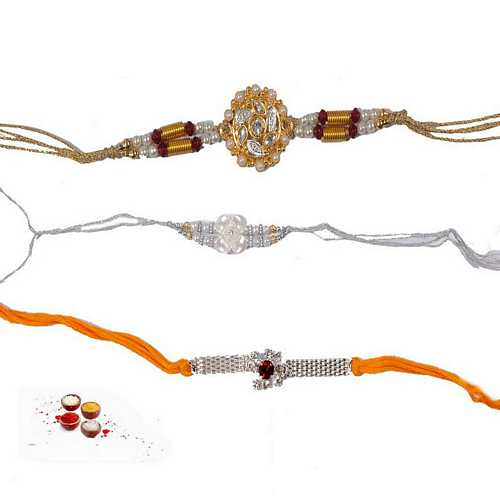 Designer n Jeweled Rakhis Set of 3