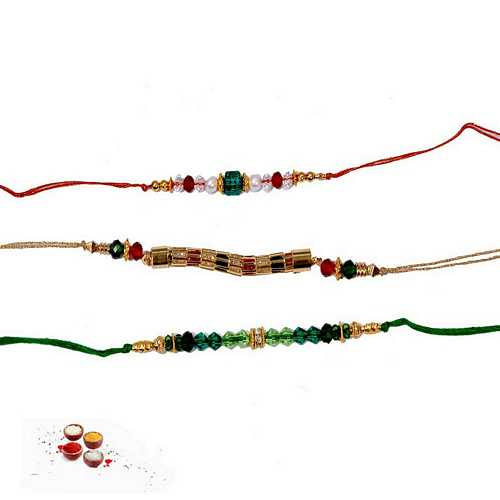 Set of 3 Fancy Beads Rakhi Threads