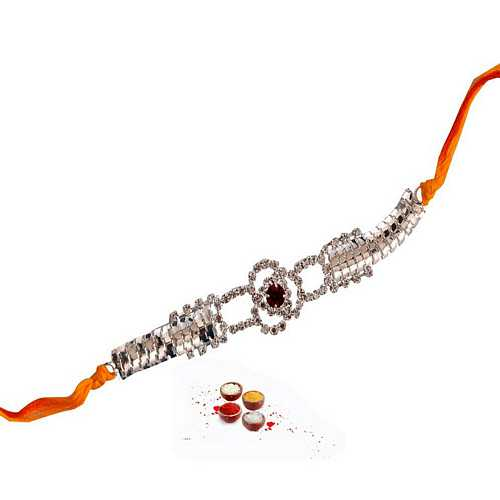 Diamond Aura Designer Kundan Rakhi in Mauli Thread