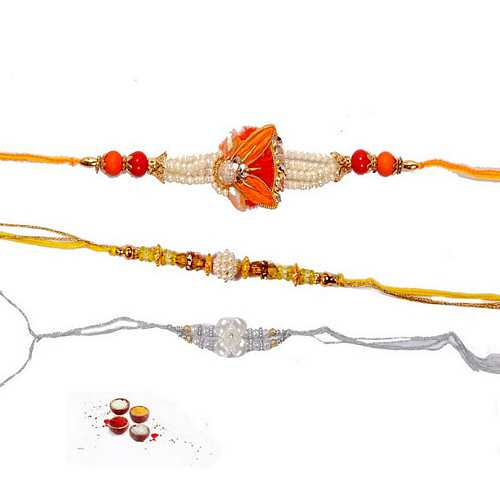 Manmohak Pearl Rakhis Set of 3