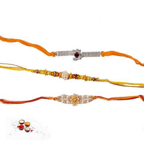 Auspicious Jeweled Rakhi Threads - Set of 3