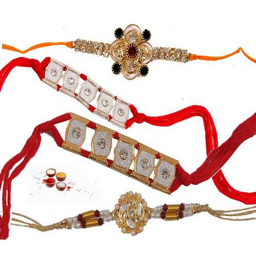 Set of 4 Jeweled Rakhis