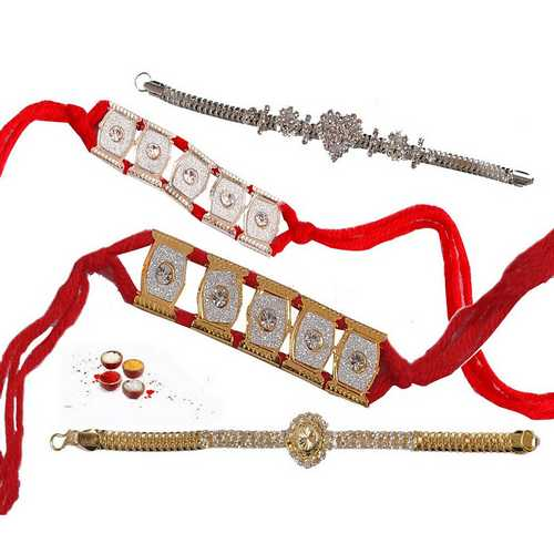 Jeweled Bracelet Rakhi Set of 4